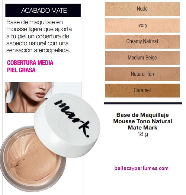 Base de Maquillaje Mousse Tono Natural Mate Mark