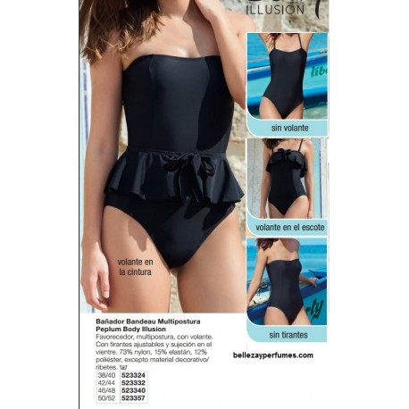 Bañador Bandeau Multipostura Peplum Body Illusion Avon fashion