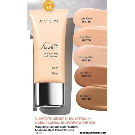 Maquillaje líquido color natural acabado mate Avon Ideal Flawless