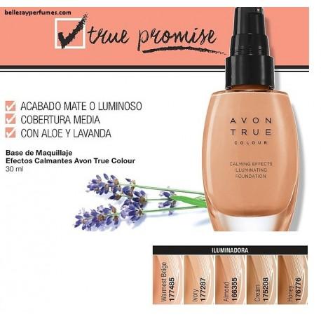 Base de maquillaje Iluminadora Efecto calmante Avon True colour