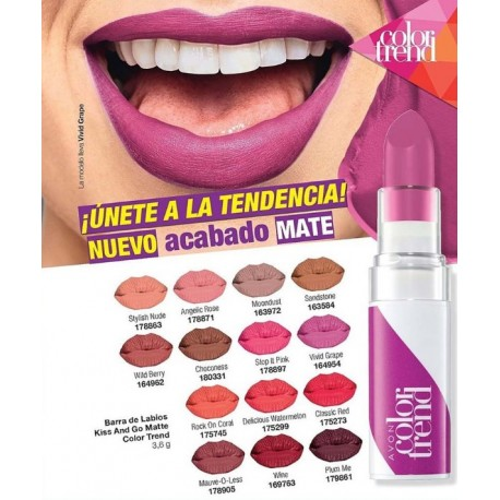 Barra de Labios Kiss and Go Matte Color Trend