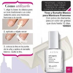 Tiras y esmalte blanco para Manicura Francesa Avon nail experts