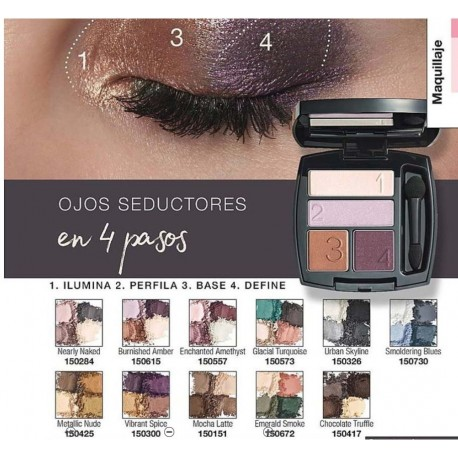 Cuarteto de Sombra de Ojos Perfect Wear Avon True Colour