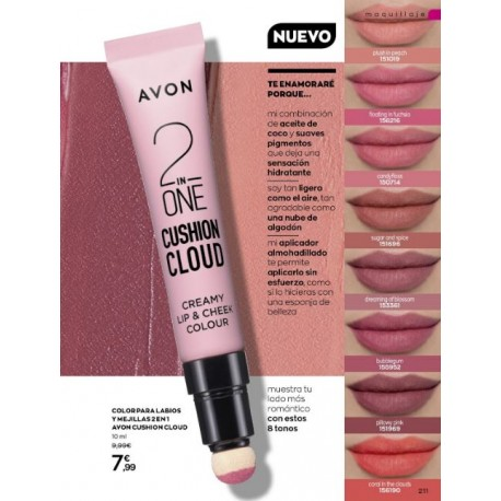 Color para Labios y Mejillas 2 en 1 Avon Cushion Cloud