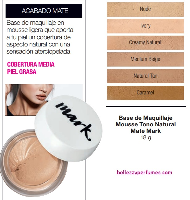 Base de Maquillaje Mousse Tono Natural Mate Mark